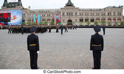 Columns military under flag of Azerbaijan and Armenia march...