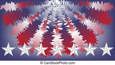 USA red white and blue bunting with a row of beveled stars