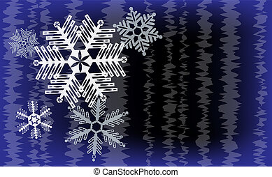 Snowflakes with abstact stripes on dark blue and black background