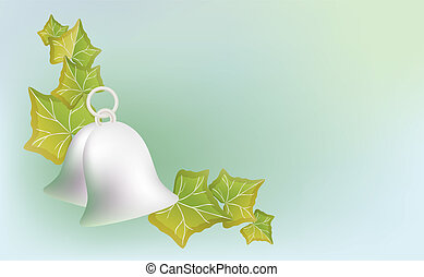 Silver bells and Ivy on a blue background