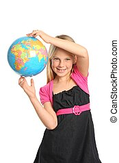 Preteen Girl Holding World Globe - Cute and confident young...