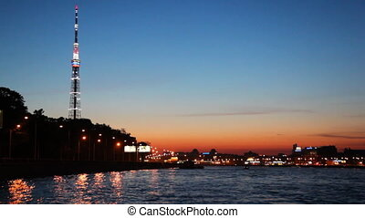Illuminated television tower and night St. Petersburg -...