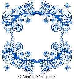 vector illustration of a blue floral frame with butterflies.