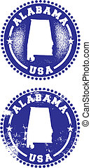 Alabama USA Stamps - A couple of distressed stamps featuring...