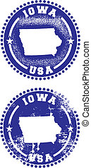 Iowa USA Stamps - A couple of distressed stamps featuring a...