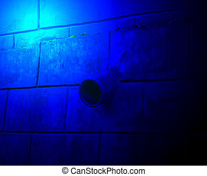 abstract blue pipe lighting, stone vintage wall