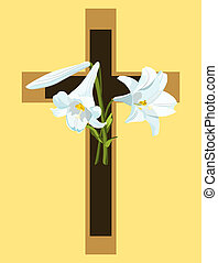 Christian cross in brown and beige with Easter lilies.