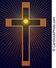 Christian Cross with starbursts on dark blue background.