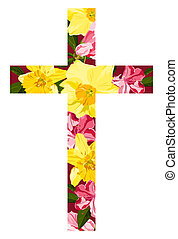 Clipped cross shape filled with spring flowers.