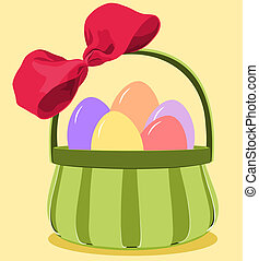 Green basket with a deep pink bow filled with pastel colored easter eggs.