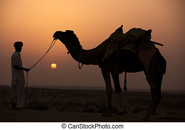 in thar desert near jaisalmer - man looking at his camel...