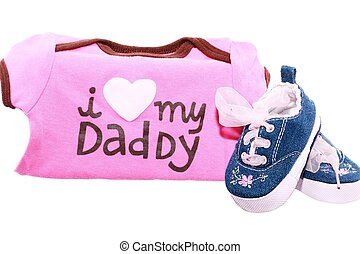 Baby shoes and suits with a message for the fathers day