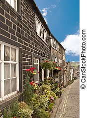 Old Mill Cottages and Flowers - A Terrace of Old Mill...