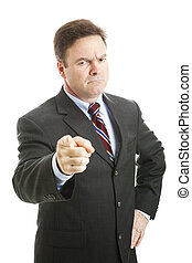 Angry Boss - Angry businessman shakes his finger in a...