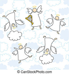 angels playing and dancing - cartoon vector illustration of...
