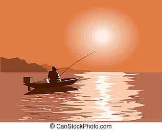 Fisherman on the sea - This is fisherman in boat on the sea