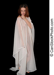 Red Hair Girl - Lovely red hair girl wear a sheer drape
