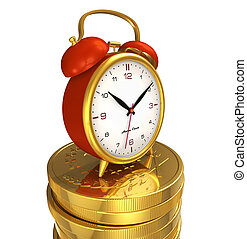 Time is money concept: alarm clock on stack of golden coins...