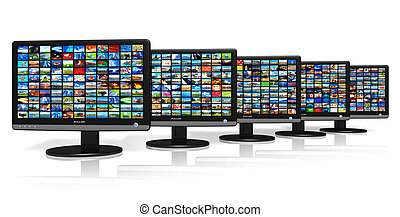 Row of LCD displays with picture galleries *** Design of...
