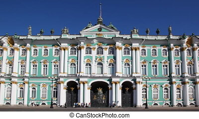 Winter Palace in St Petersburg against sky by day, panorama...