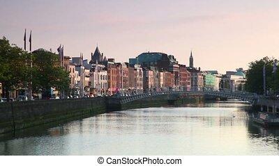People crosses the Ha'penny bridge - DUBLIN - JUNE 10:...