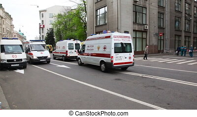 Many emergency ambulances go at street - MOSCOW - MAY 6:...