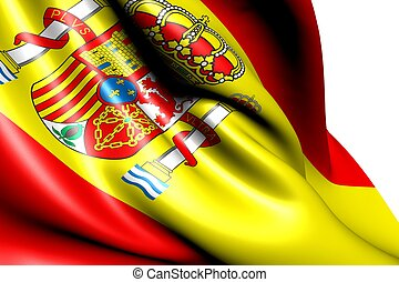 Flag of Spain against white background Close up