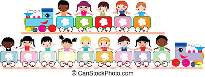 kids travel - illustration of multicultural kids in the...