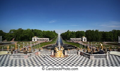 Fountains, wide view from Royal Petrodvorets, Saint Petersburg