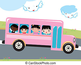 back to school - illustration of a ground of kids go to...