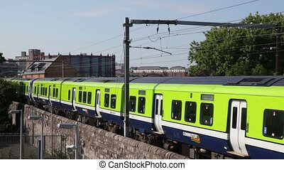 Green train moves in Dublin - DUBLIN - JUNE 10: Green train...