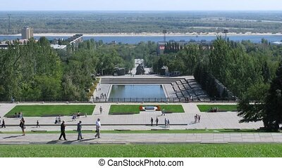 View from Mamayev Kurgan in Volgograd on sunny day, time...