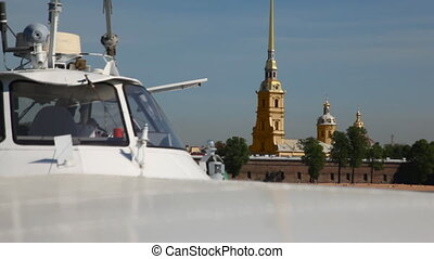 Panorama behind hydrofoil vessel Meteor Peter and Paul Fortress