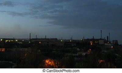 Big factory in Volgograd at evening time, time lapse