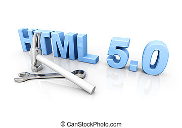 HTML 50 Tools - HTML 50 tools 3D rendered Illustration...