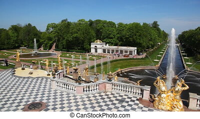 Fountains, panorama left to right from Royal Petrodvorets -...