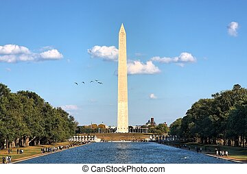 Washington Monument - Washington monument and the pool near...