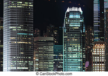 business buildings at night in Hong Kong