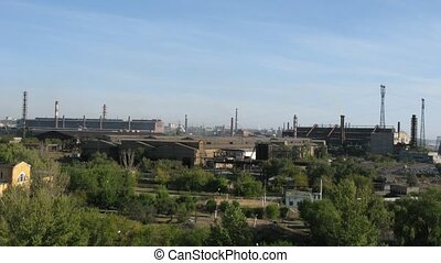 Big factory in Volgograd on sunny autumn day, time lapse