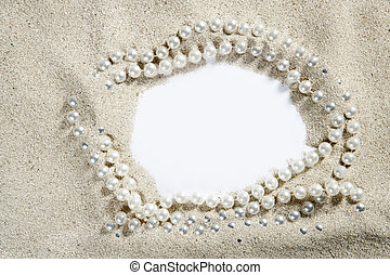 beach white sand pearl necklace blank copy space - beach...