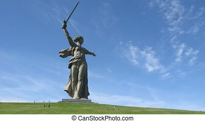 monumental Motherland Calls statue in Volgograd - Clouds...