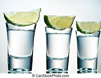 Three shots of tequila ready to go