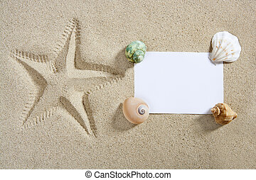 blank paper beach sand starfish pint shells summer