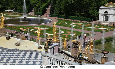 Colored lawns and fountains from Royal Petrodvorets -...
