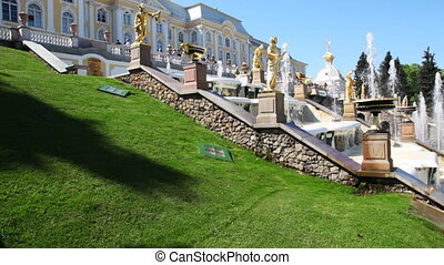 Cascade fountains at Royal Petrodvorets, Saint Petersburg -...