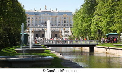 Royal Petrodvorets, footbridge and fountains in St....