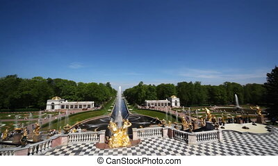 Fountains, wide-angle panorama from Royal Petrodvorets, Saint Petersburg