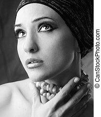 Monochrome portrait of a woman