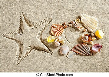 beach white sand heart shape starfish print summer - beach...