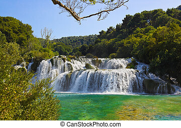 Waterfall KRKA in Croatia - nature travel background
